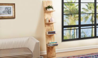 Simple Living Natural Wood Ladder Shelf