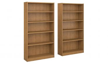 Snow Maple 5-shelf Bookcase (Set of 1) or (Set of 2)