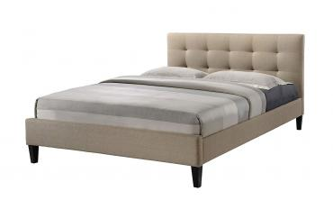 Hermosa Tufted Beige Fabric Upholstered Platform Contemporary Bed