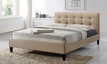 Hermosa King-size Tufted Beige Fabric Upholstered Platform Contemporar...