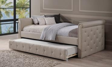 Modern and Contemporary Beige Fabric Tufted Twin Size Daybed with Roll...
