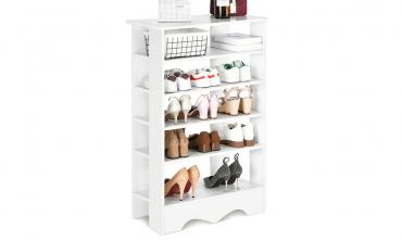 Five-Tier Wooden Shoe Rack Organiser