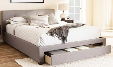 Contemporary Fabric Storage Platform Bed