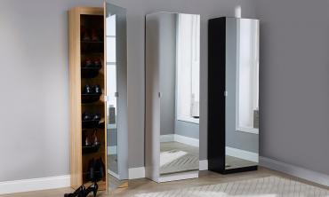 Aimee Mirrored Shoe Cabinet in Choice of Colour