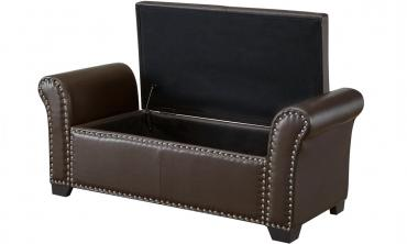 PU Leather Nail-head Storage Ottoman Bench