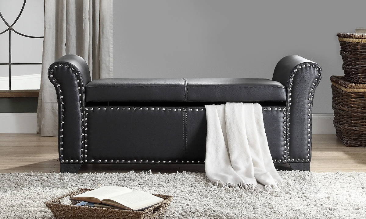 Pu Leather Nail Head Storage Ottoman Bench From Aed 1059