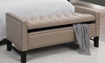 Linen Button Tufted Nailhead Multi Position Storage Bench