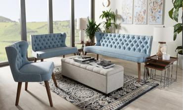 Walnut Wood and Upholstered Button-Tufted Livingroom 3-Piece Sofa Set