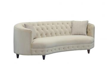 Kidney-Shaped Club Sofa with 2 Accent Pillows