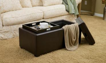 Brown Bonded Leather Tray Top Storage Ottoman