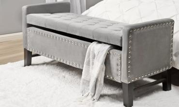 Marcus Velvet Button Tufted Storage Bench