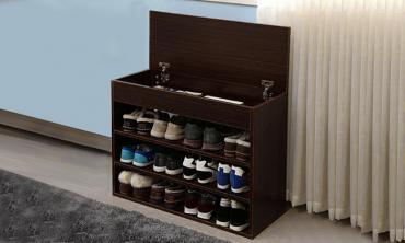 Three-Tier Shoe Rack with Lift-Top Storage