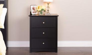 Black 3-drawer Tall Nightstand