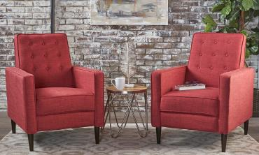 Mid-Century Fabric Club Chairs (Set of 2)