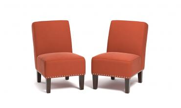 Velvet Armless Chairs (Set of 2)