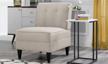 Courtney Oatmeal Linen Armless Chair