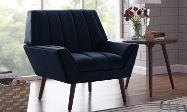 Houston Navy Blue Mid-century Modern Arm Chair