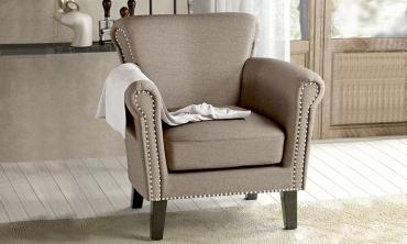 Brice Vintage Scroll Arm Studded Fabric Club Chair