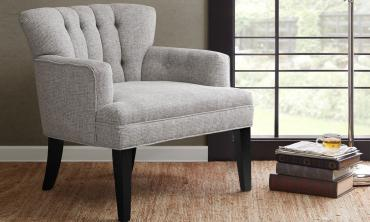 Gianna Light Grey Tufted Club Chair