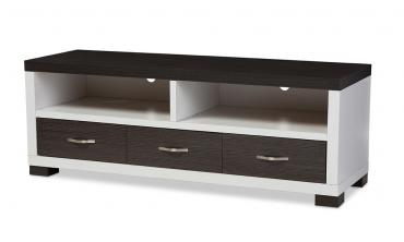 Oxley White and Dark Brown Entertainment TV Cabinet