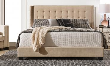 Melina Tufted Linen Wingback Bed