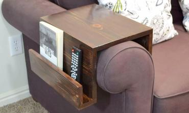 Wooden Sofa Arm Rest With Magazine And Remote Pocket