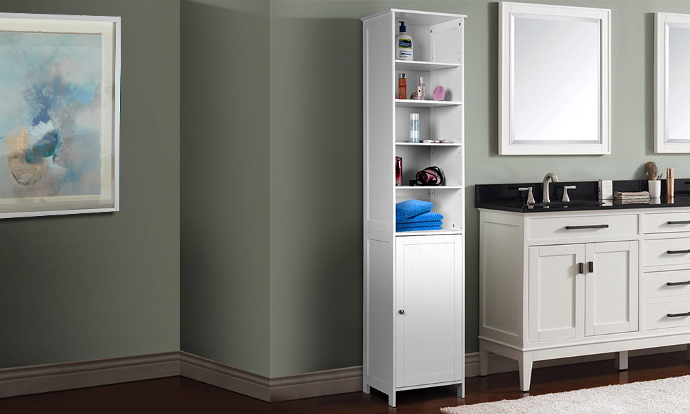 Bathroom Tall Floor Storage Cabinet Free Standing Shelving