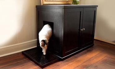 Kitty Enclosed Wooden End Table & Litter Box