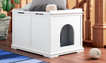 White Cat Litter Box Enclosure and Bench