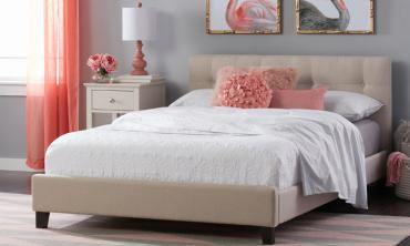 Mildred Simply Tufted Beige Platform Bed