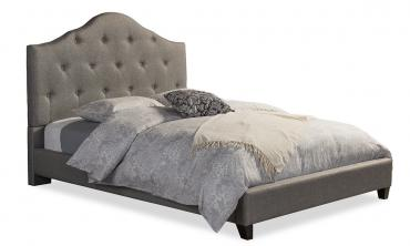 Anica Scalloped Grey Fabric Modern Platform Bed