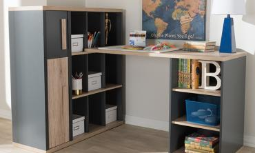 Contemporary Dark Grey and Oak Study Desk