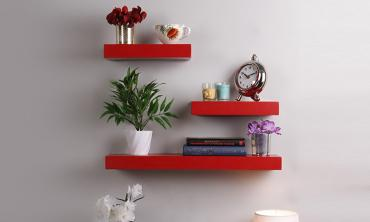 Floating Wall Shelf (Set of 3) in Red Finish