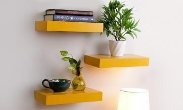 Floating Wall Shelf (Set of 3) in Yellow Finish