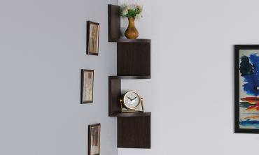 Zig-Zag 3 Tier Wall Shelf in Wenge Finish