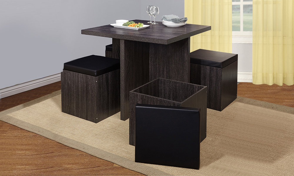 Simple Living 5 Piece Baxter Dining Set With Storage Ottomans From Aed 999 A To Z Furniture
