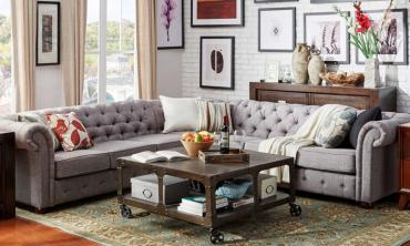 Tufted Scroll Arm Chesterfield 7-seat L-shaped Sectional