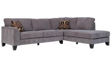 Monza Grey Sectional Sofa with Optional Geometric Ottoman