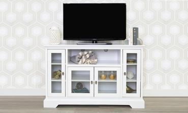 52-inch White Wood Highboy Style TV Stand