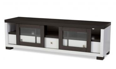 Oxley White and Dark Brown Entertainment TV Cabinet with Sliding Door