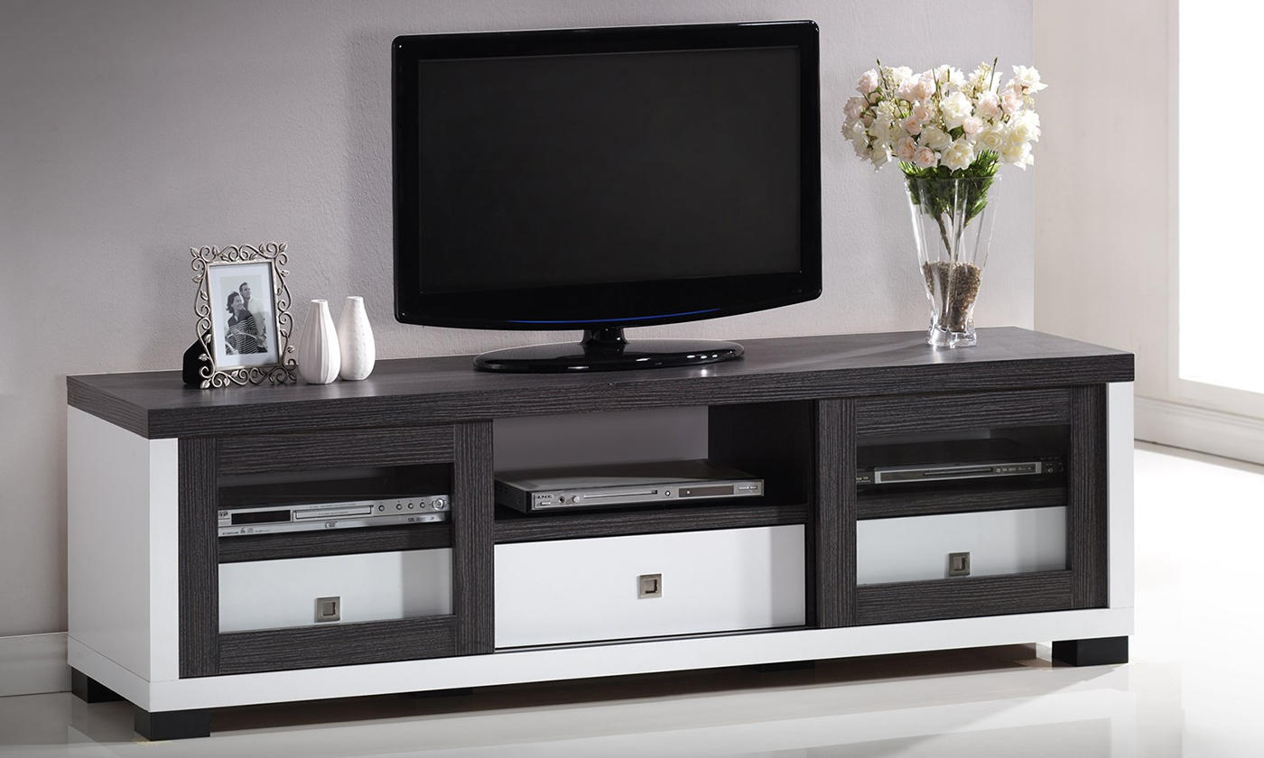 Oxley White And Dark Brown Entertainment Tv Cabinet With Sliding
