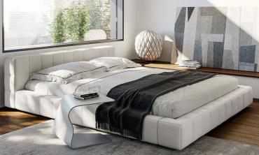 Square Upholstered Bed with Low Headboard in Faux Leather