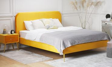 Sirio Velvet Bed Frame In Yellow and Grey