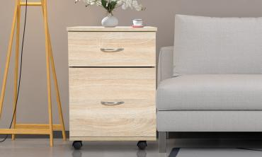 Homcom Black or Oak-Effect Two-Drawer Bedside Tables with Wheels