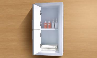 White Bathroom Linen Side Cabinet with 2 Doors