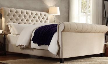 Oxford Rolled Top-Tufted Sleigh Bed Frame