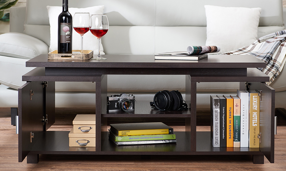 Mollens Contemporary Espresso Open Storage Coffee Table From Aed