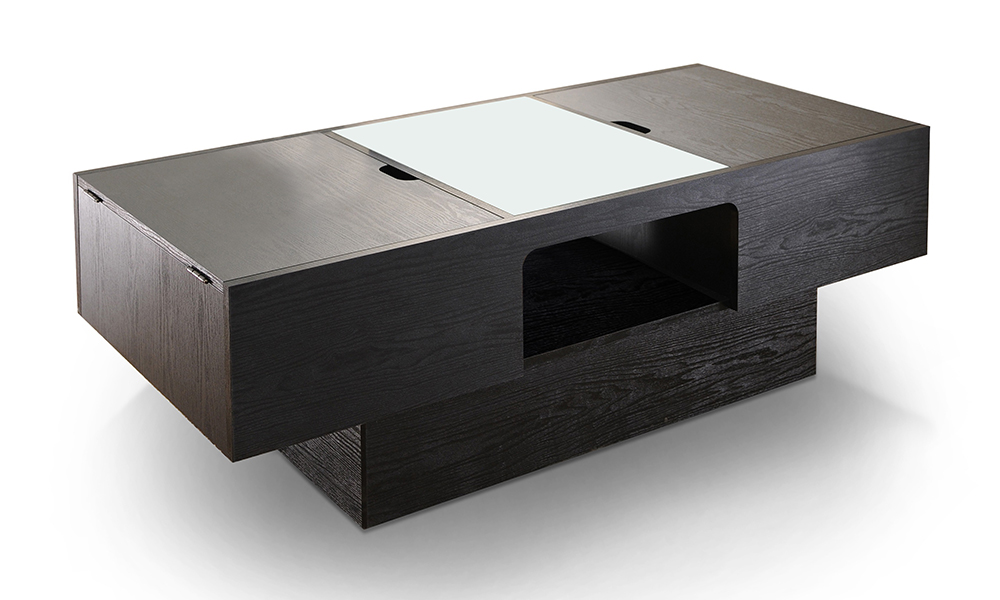 Black Finished Wood And Glass Hidden Storage Coffee Table From Aed