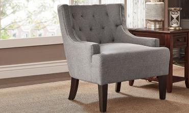 Wingback Tufted Linen Upholstered Club Chair
