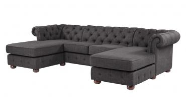 Tufted Scroll Arm Chesterfield U-Shape Sectional Sofa